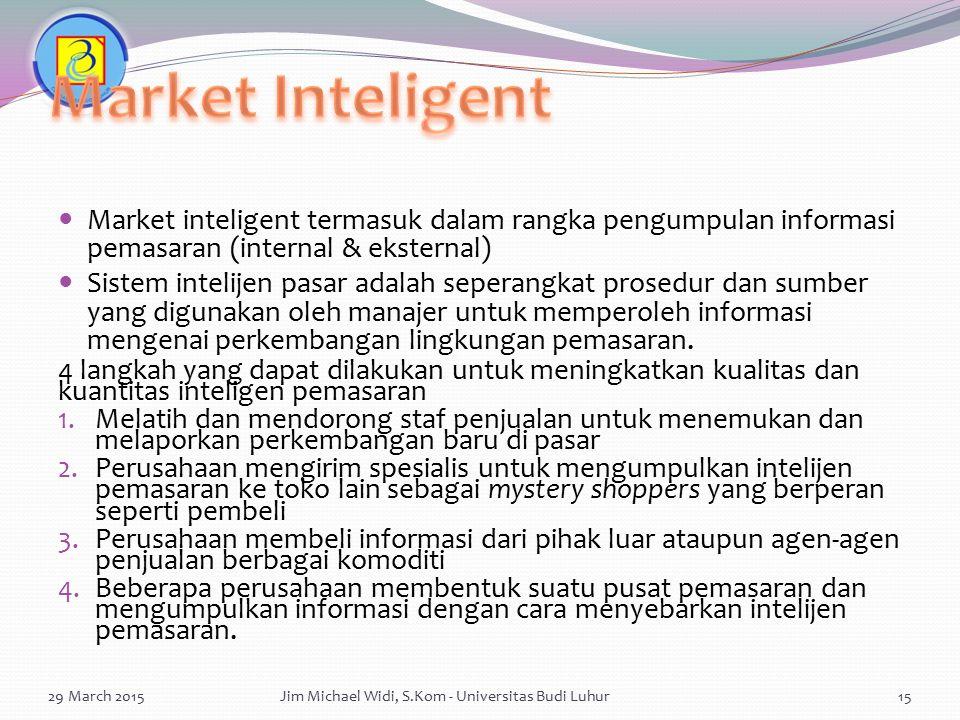 Market inteligent termasuk dalam rangka pengumpulan informasi pemasaran (internal & eksternal) Sistem intelijen pasar adalah seperangkat prosedur dan
