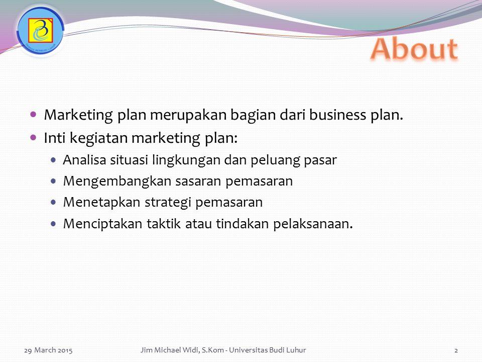 Marketing plan merupakan bagian dari business plan. Inti kegiatan marketing plan: Analisa situasi lingkungan dan peluang pasar Mengembangkan sasaran p