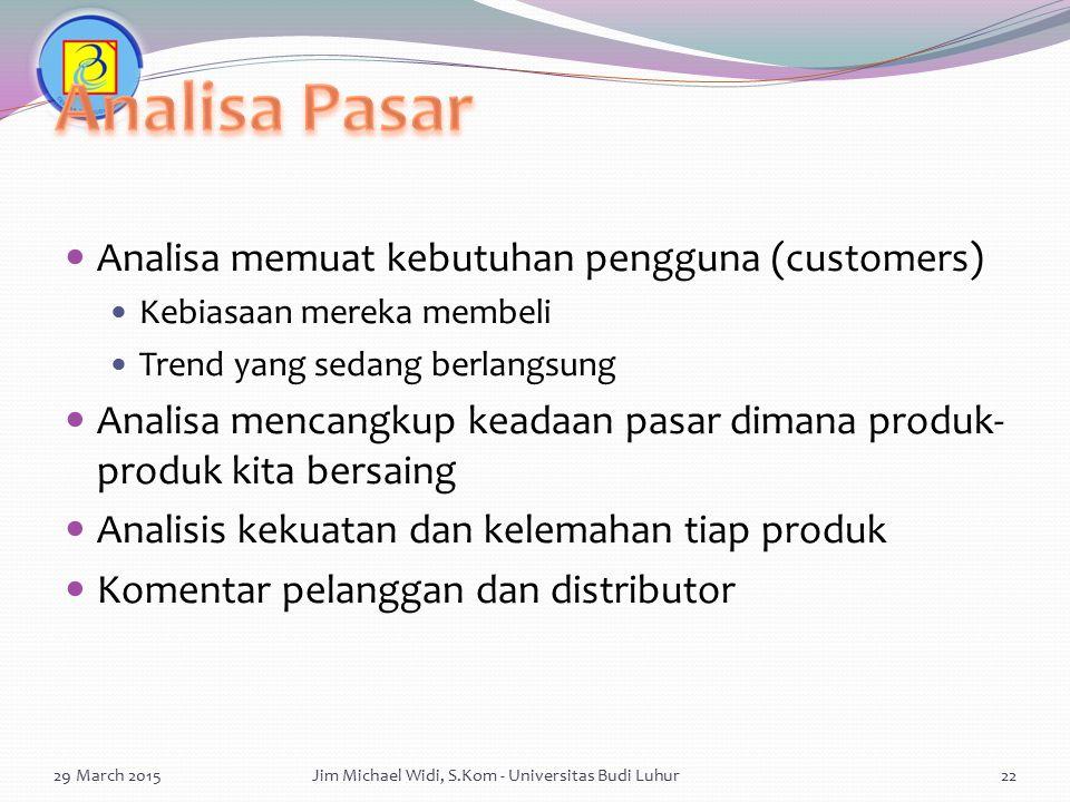Analisa memuat kebutuhan pengguna (customers) Kebiasaan mereka membeli Trend yang sedang berlangsung Analisa mencangkup keadaan pasar dimana produk- p