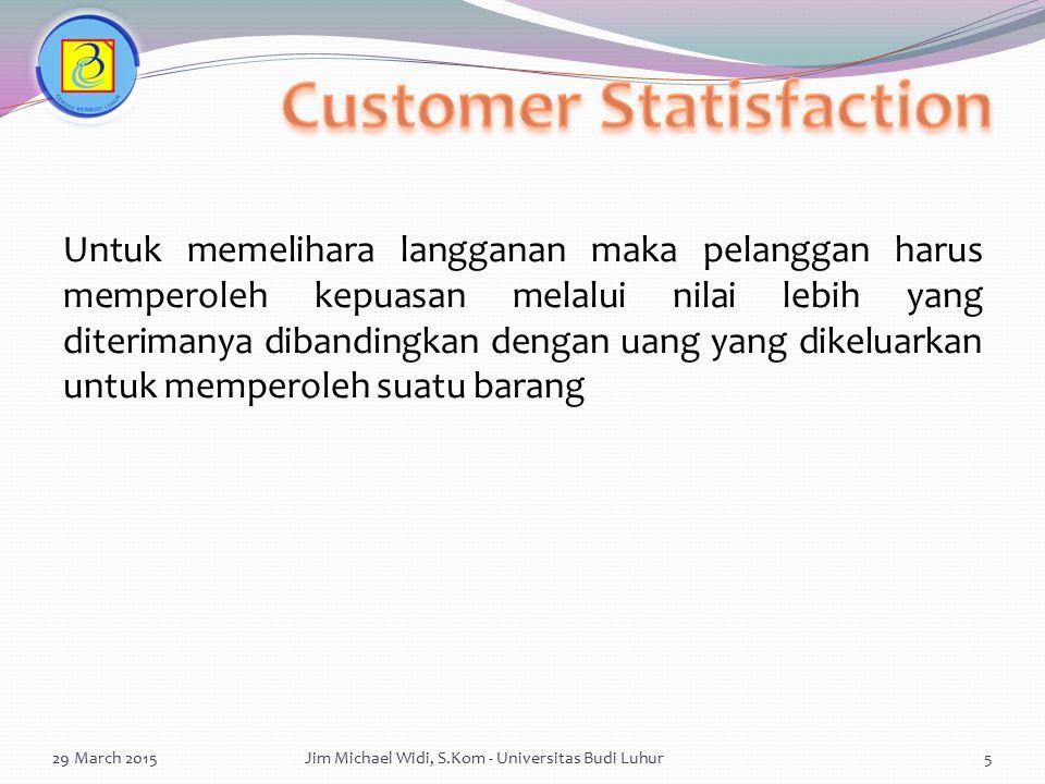 Carilah segmen yang belum dilayani dan menarik untuk produk kita Menentukan dimana produk kita dapat lebih di terima daripada produk pesaing Dapat menentukan perbandingan besarnya persaingan yang terjadi 29 March 2015Jim Michael Widi, S.Kom - Universitas Budi Luhur26