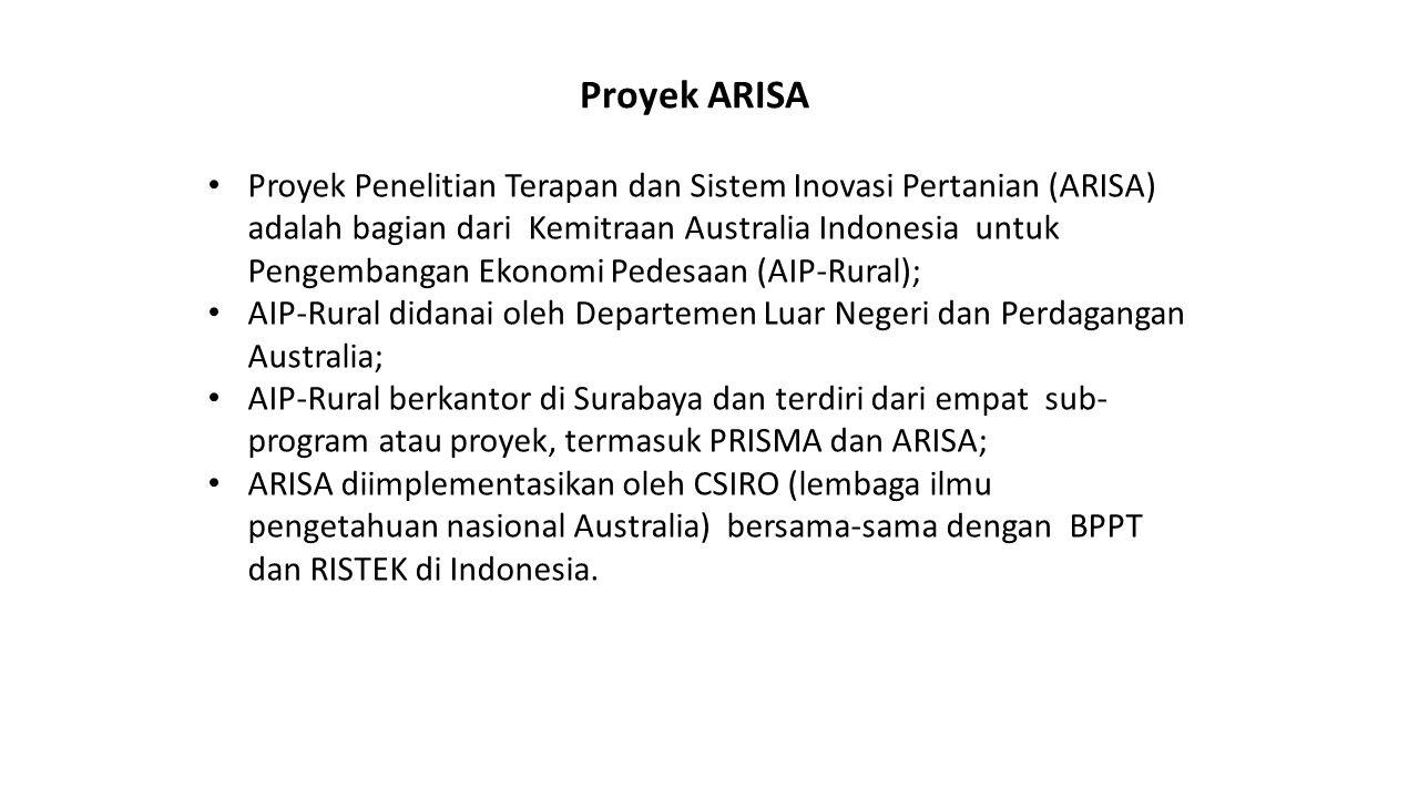 Proyek Penelitian Terapan dan Sistem Inovasi Pertanian (ARISA) adalah bagian dari Kemitraan Australia Indonesia untuk Pengembangan Ekonomi Pedesaan (A