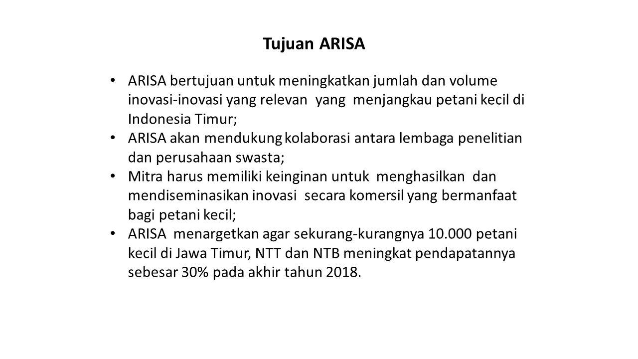 Tujuan ARISA ARISA bertujuan untuk meningkatkan jumlah dan volume inovasi-inovasi yang relevan yang menjangkau petani kecil di Indonesia Timur; ARISA