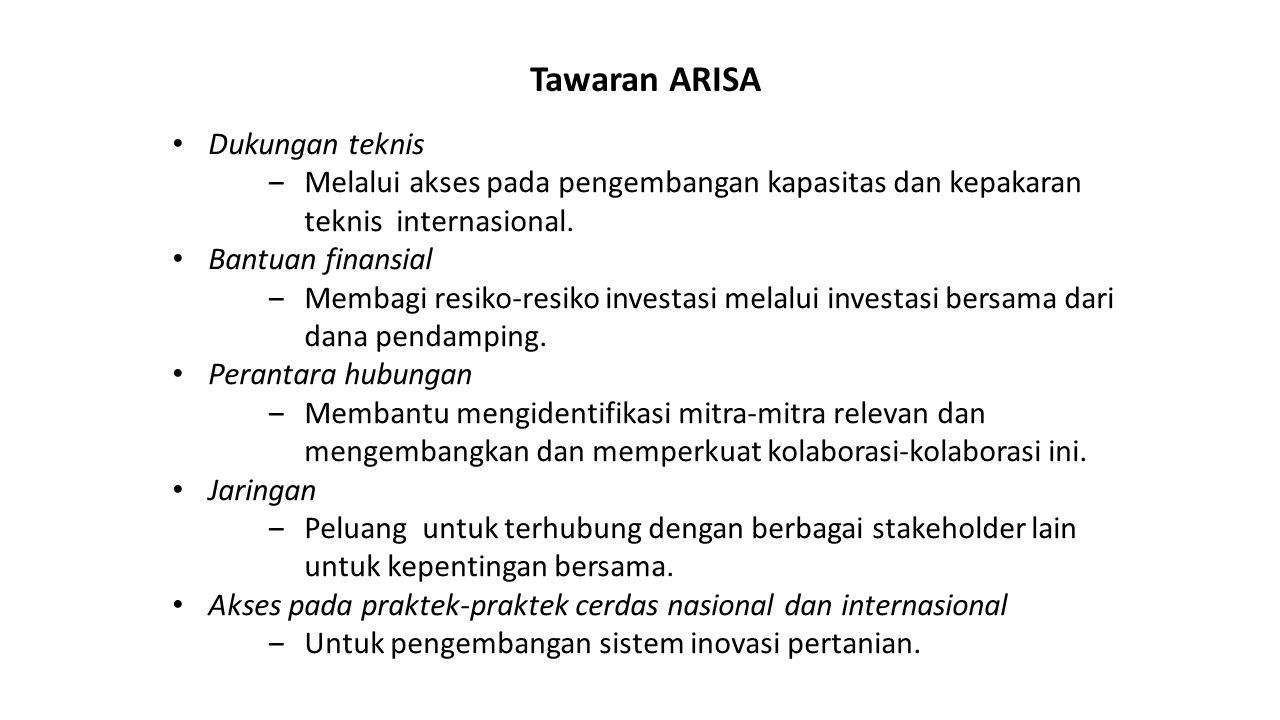 Tawaran ARISA Dukungan teknis ‒Melalui akses pada pengembangan kapasitas dan kepakaran teknis internasional. Bantuan finansial ‒Membagi resiko-resiko