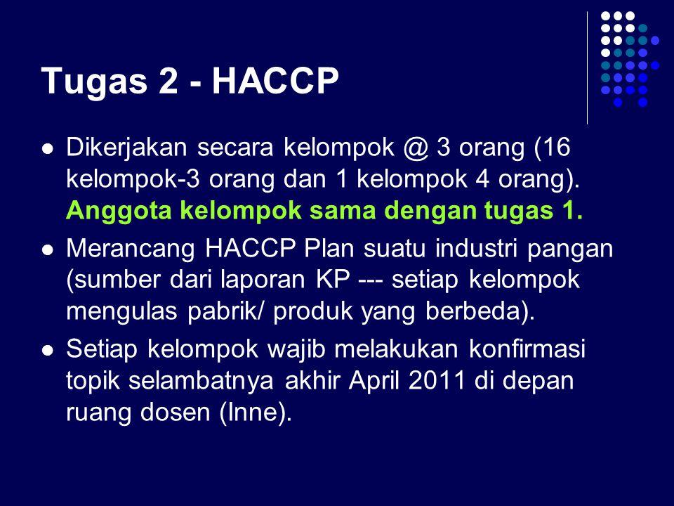 Tugas 2 - HACCP Dikerjakan secara kelompok @ 3 orang (16 kelompok-3 orang dan 1 kelompok 4 orang). Anggota kelompok sama dengan tugas 1. Merancang HAC