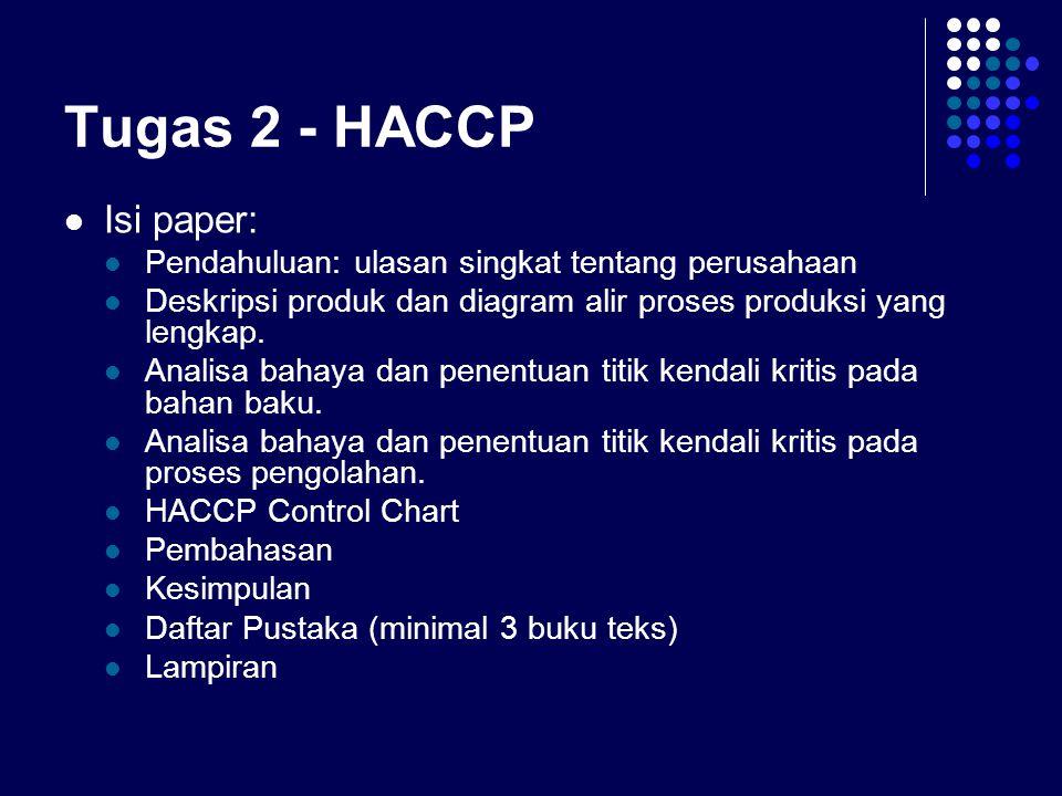 Tugas 2 - HACCP Isi paper: Pendahuluan: ulasan singkat tentang perusahaan Deskripsi produk dan diagram alir proses produksi yang lengkap. Analisa baha