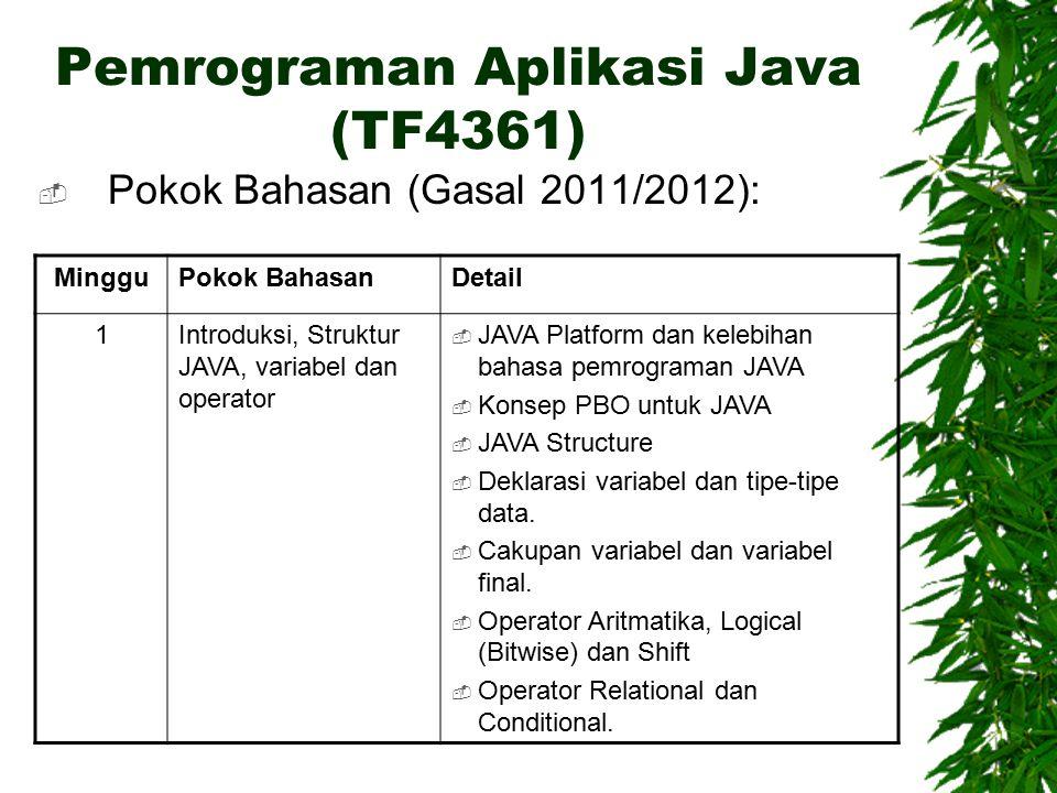 Pemrograman Aplikasi Java (TF4361)  Pokok Bahasan (Gasal 2011/2012): MingguPokok BahasanDetail 1Introduksi, Struktur JAVA, variabel dan operator  JAVA Platform dan kelebihan bahasa pemrograman JAVA  Konsep PBO untuk JAVA  JAVA Structure  Deklarasi variabel dan tipe-tipe data.