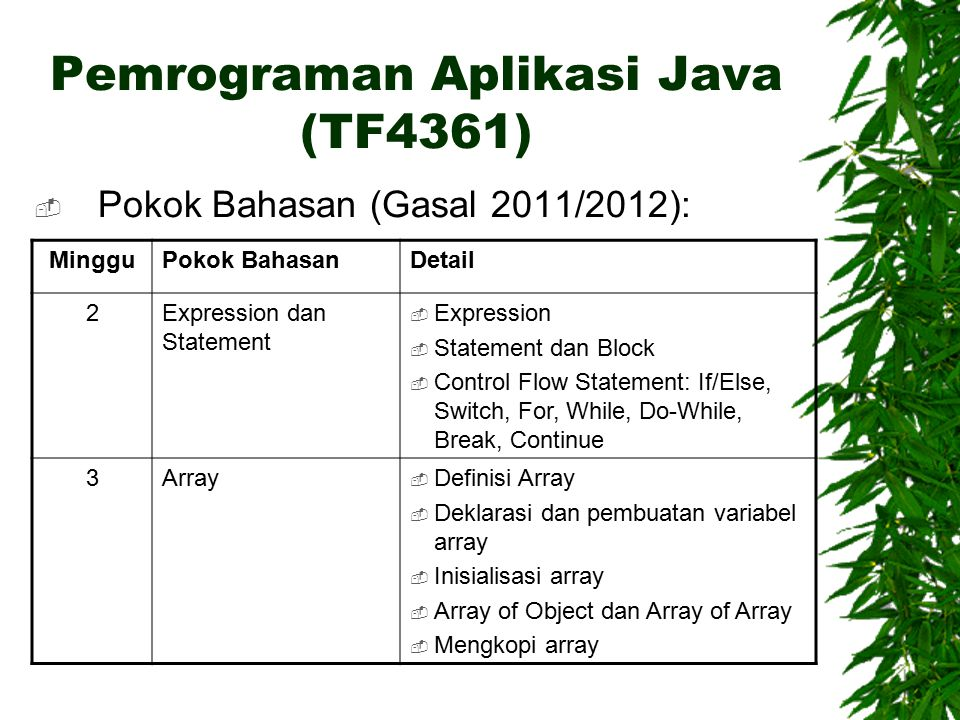 Pemrograman Aplikasi Java (TF4361)  Pokok Bahasan (Gasal 2011/2012): MingguPokok BahasanDetail 2Expression dan Statement  Expression  Statement dan Block  Control Flow Statement: If/Else, Switch, For, While, Do-While, Break, Continue 3Array  Definisi Array  Deklarasi dan pembuatan variabel array  Inisialisasi array  Array of Object dan Array of Array  Mengkopi array