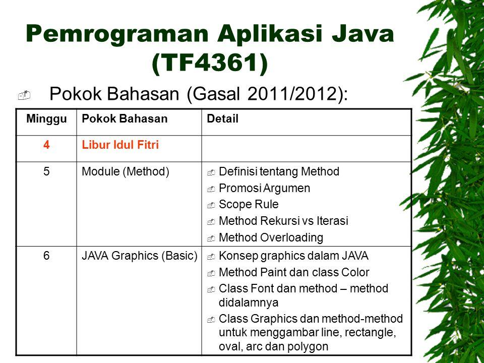 Pemrograman Aplikasi Java (TF4361)  Pokok Bahasan (Gasal 2011/2012): MingguPokok BahasanDetail 4Libur Idul Fitri 5Module (Method)  Definisi tentang Method  Promosi Argumen  Scope Rule  Method Rekursi vs Iterasi  Method Overloading 6JAVA Graphics (Basic)  Konsep graphics dalam JAVA  Method Paint dan class Color  Class Font dan method – method didalamnya  Class Graphics dan method-method untuk menggambar line, rectangle, oval, arc dan polygon