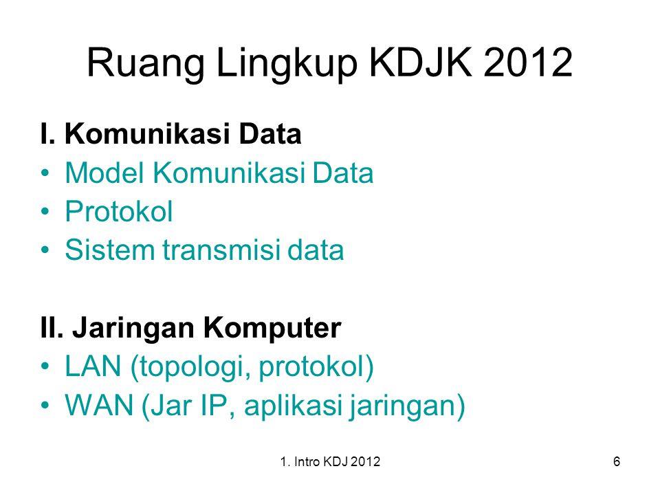 1. Intro KDJ 20126 Ruang Lingkup KDJK 2012 I. Komunikasi Data Model Komunikasi Data Protokol Sistem transmisi data II. Jaringan Komputer LAN (topologi