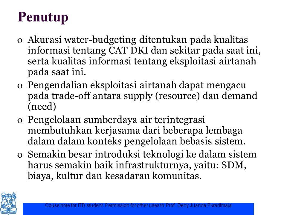 Couse note for ITB student. Permission for other uses to Prof. Deny Juanda Puradimaja Penutup o Akurasi water-budgeting ditentukan pada kualitas infor