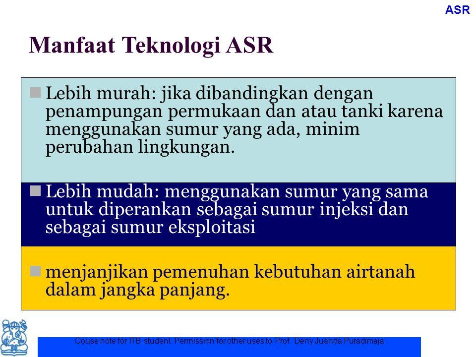 Couse note for ITB student. Permission for other uses to Prof. Deny Juanda Puradimaja Manfaat Teknologi ASR Lebih murah: jika dibandingkan dengan pena