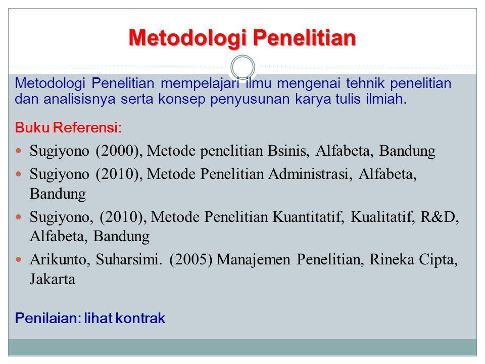 TARGET KULIAH 1.Mahasiswa memahami konsep2 dasar Metodologi Penelitian 2.