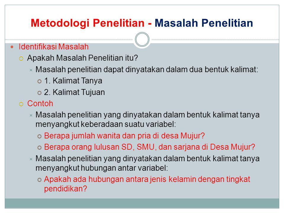 Metodologi Penelitian - Masalah Penelitian Identifikasi Masalah  Apakah Masalah Penelitian itu?  Masalah penelitian dapat dinyatakan dalam dua bentu
