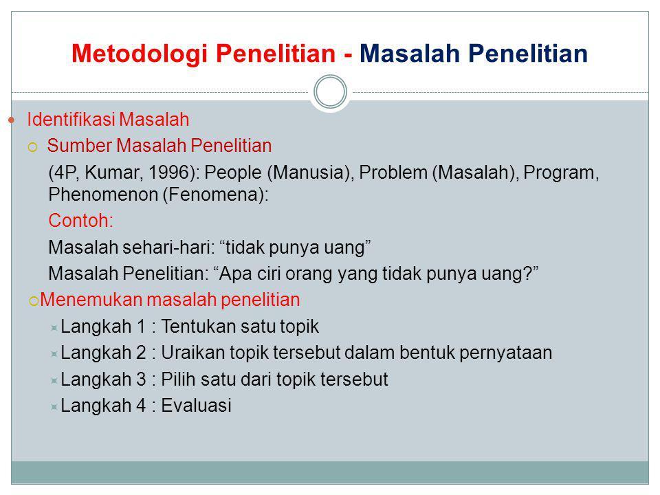 Metodologi Penelitian - Masalah Penelitian Identifikasi Masalah  Sumber Masalah Penelitian (4P, Kumar, 1996): People (Manusia), Problem (Masalah), Pr