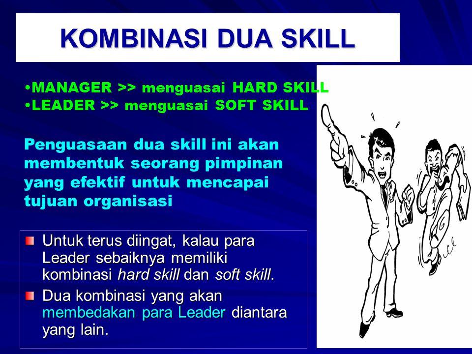 KOMBINASI DUA SKILL Untuk terus diingat, kalau para Leader sebaiknya memiliki kombinasi hard skill dan soft skill.