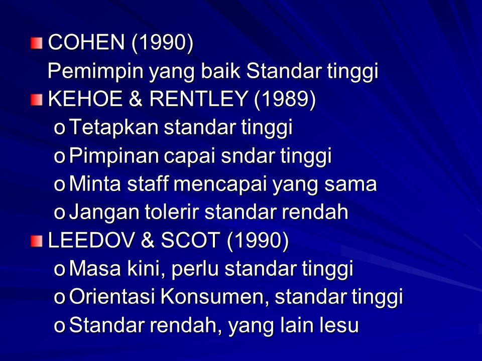 COHEN (1990) Pemimpin yang baik Standar tinggi Pemimpin yang baik Standar tinggi KEHOE & RENTLEY (1989) oTetapkan standar tinggi oPimpinan capai sndar tinggi oMinta staff mencapai yang sama oJangan tolerir standar rendah LEEDOV & SCOT (1990) oMasa kini, perlu standar tinggi oOrientasi Konsumen, standar tinggi oStandar rendah, yang lain lesu