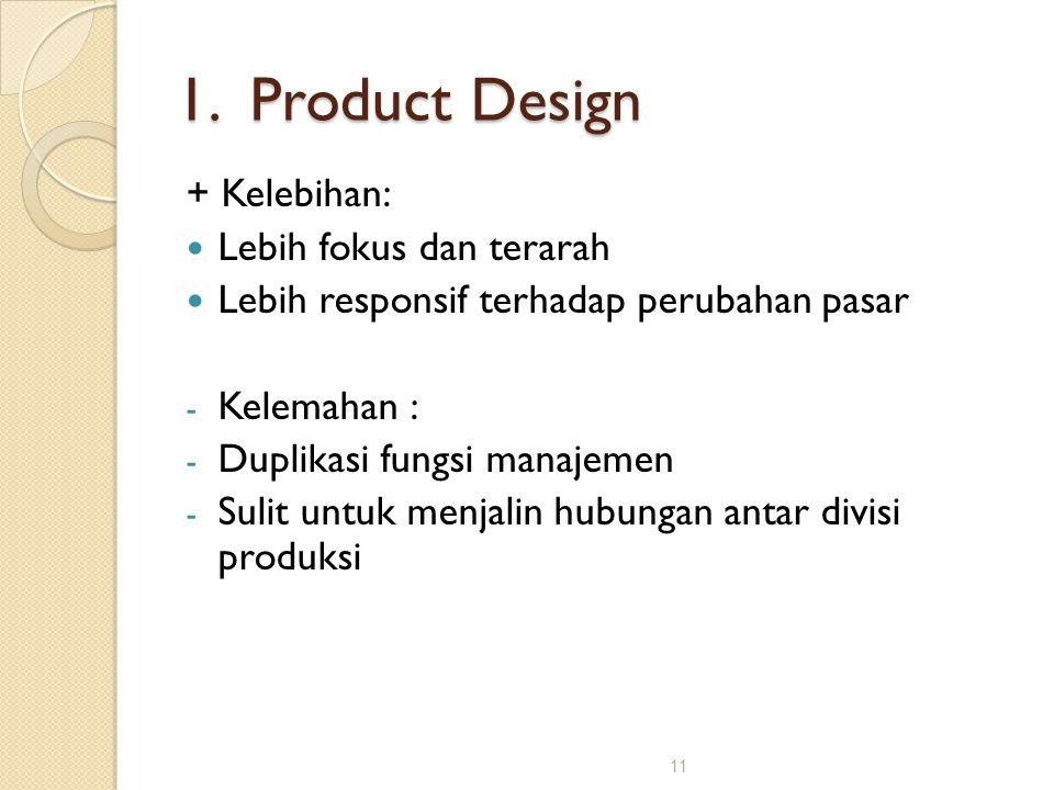 11 1. Product Design + Kelebihan: Lebih fokus dan terarah Lebih responsif terhadap perubahan pasar - Kelemahan : - Duplikasi fungsi manajemen - Sulit