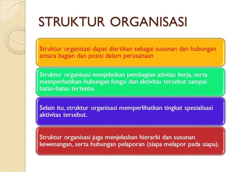 STRUKTUR ORGANISASI Struktur organisasi dapat diartikan sebagai susunan dan hubungan antara bagian dan posisi dalam perusahaan. Struktur organisasi me