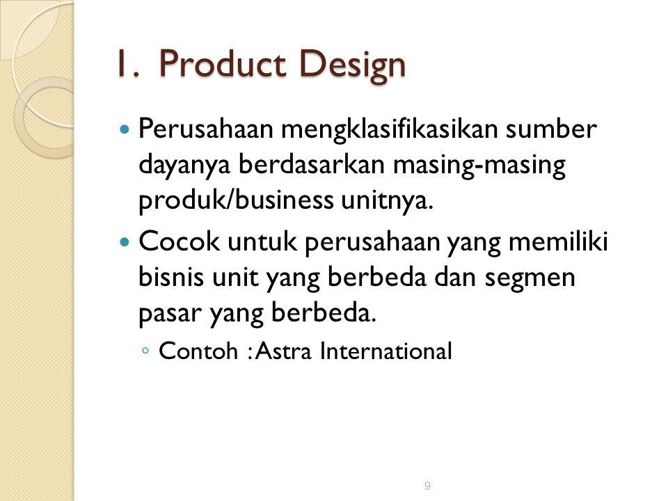 9 1. Product Design Perusahaan mengklasifikasikan sumber dayanya berdasarkan masing-masing produk/business unitnya. Cocok untuk perusahaan yang memili