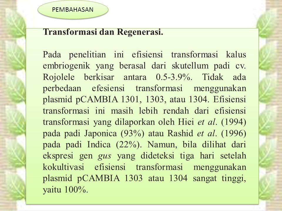 PEMBAHASAN Transformasi dan Regenerasi.