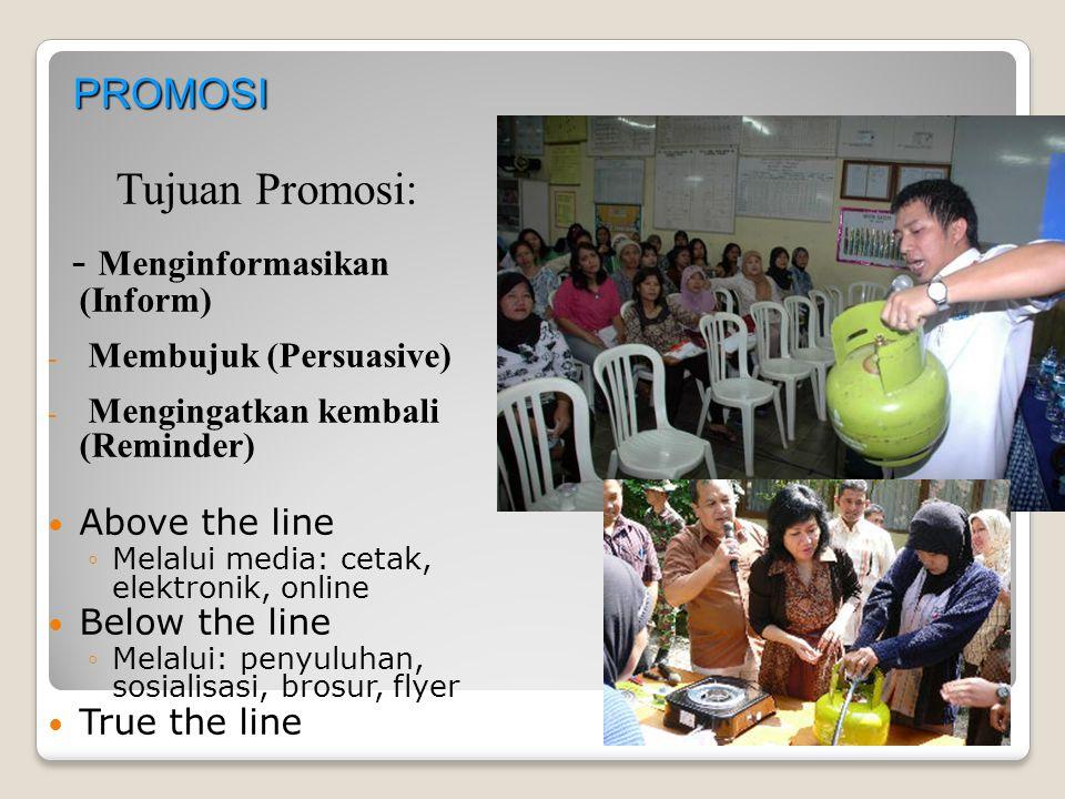 PROMOSI Tujuan Promosi: - Menginformasikan (Inform) - - Membujuk (Persuasive) - - Mengingatkan kembali (Reminder) Above the line ◦ ◦Melalui media: cet