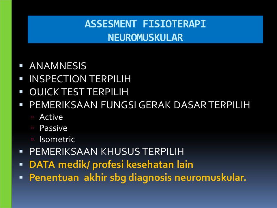 ASSESMENT FISIOTERAPI NEUROMUSKULAR  ANAMNESIS  INSPECTION TERPILIH  QUICK TEST TERPILIH  PEMERIKSAAN FUNGSI GERAK DASAR TERPILIH  Active  Passi