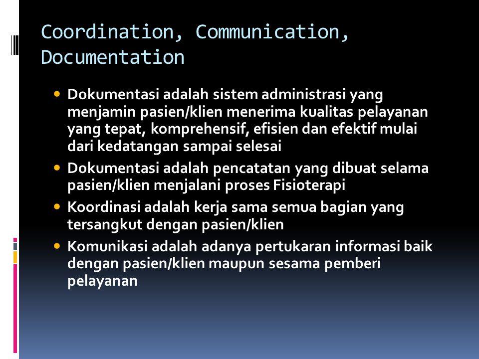 Coordination, Communication, Documentation Dokumentasi adalah sistem administrasi yang menjamin pasien/klien menerima kualitas pelayanan yang tepat, k