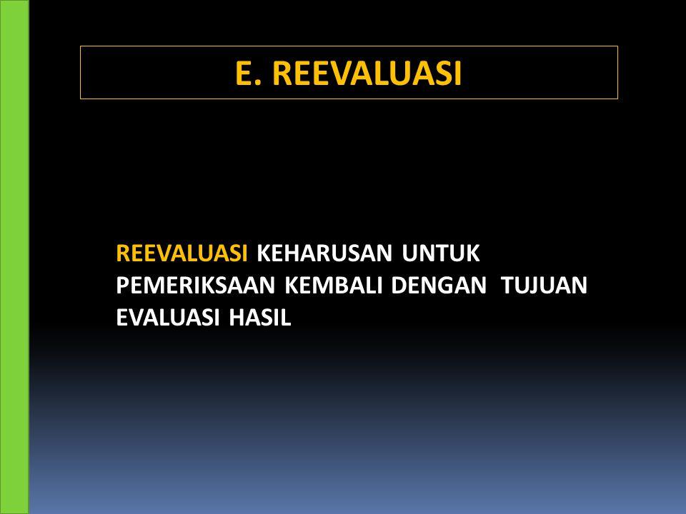 REEVALUASI KEHARUSAN UNTUK PEMERIKSAAN KEMBALI DENGAN TUJUAN EVALUASI HASIL E. REEVALUASI