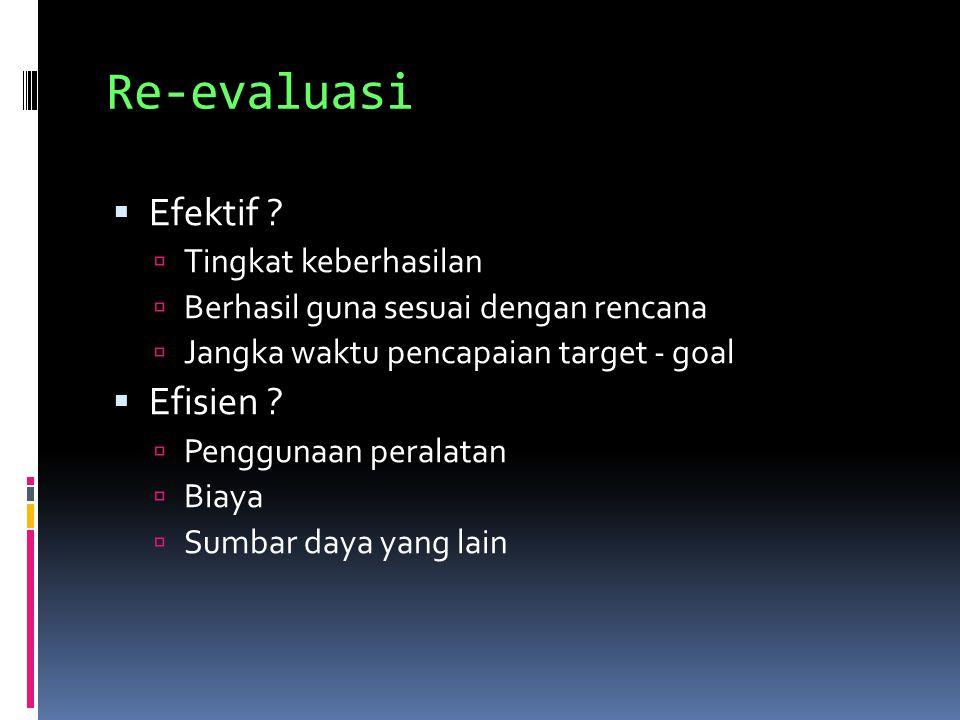 Re-evaluasi  Efektif ?  Tingkat keberhasilan  Berhasil guna sesuai dengan rencana  Jangka waktu pencapaian target - goal  Efisien ?  Penggunaan