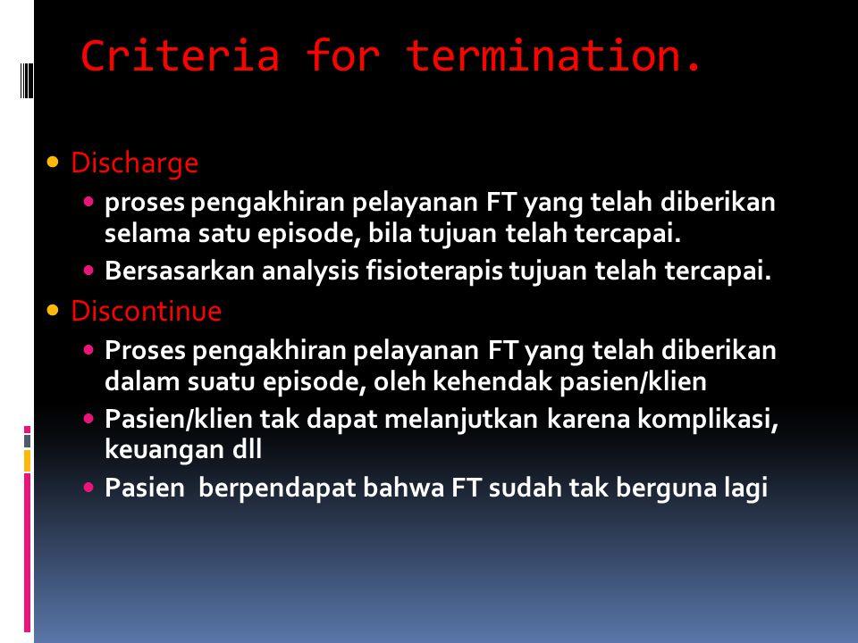 Criteria for termination. Discharge proses pengakhiran pelayanan FT yang telah diberikan selama satu episode, bila tujuan telah tercapai. Bersasarkan