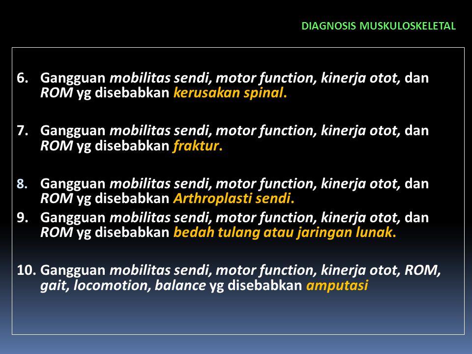 DIAGNOSIS MUSKULOSKELETAL 6.Gangguan mobilitas sendi, motor function, kinerja otot, dan ROM yg disebabkan kerusakan spinal. 7.Gangguan mobilitas sendi