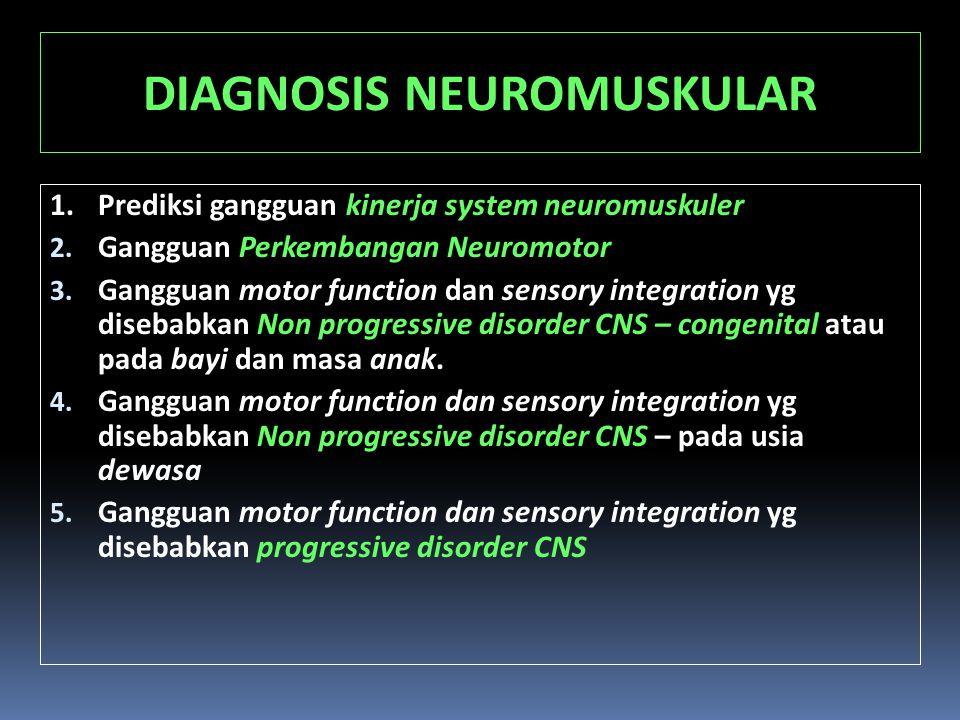 DIAGNOSIS NEUROMUSKULAR 1.Prediksi gangguan kinerja system neuromuskuler 2. Gangguan Perkembangan Neuromotor 3. Gangguan motor function dan sensory in