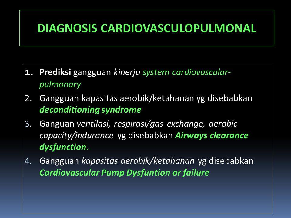 DIAGNOSIS CARDIOVASCULOPULMONAL 1. Prediksi gangguan kinerja system cardiovascular- pulmonary 2.Gangguan kapasitas aerobik/ketahanan yg disebabkan dec