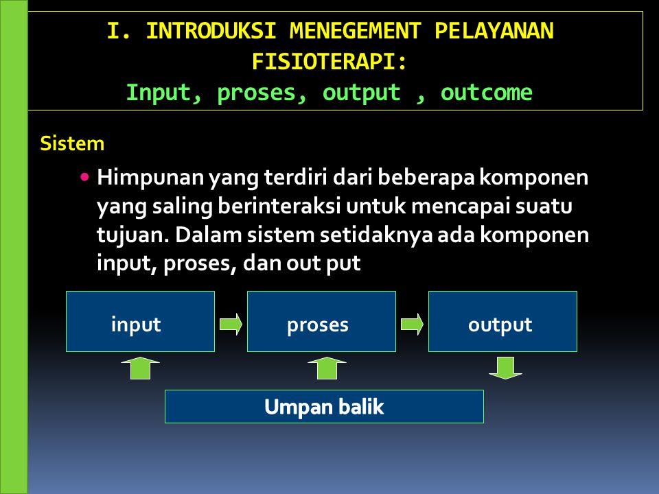 I. INTRODUKSI MENEGEMENT PELAYANAN FISIOTERAPI: Input, proses, output, outcome Himpunan yang terdiri dari beberapa komponen yang saling berinteraksi u