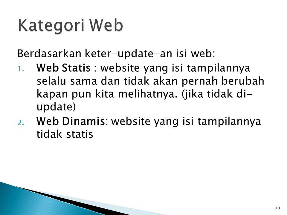 10 Berdasarkan keter-update-an isi web: 1.