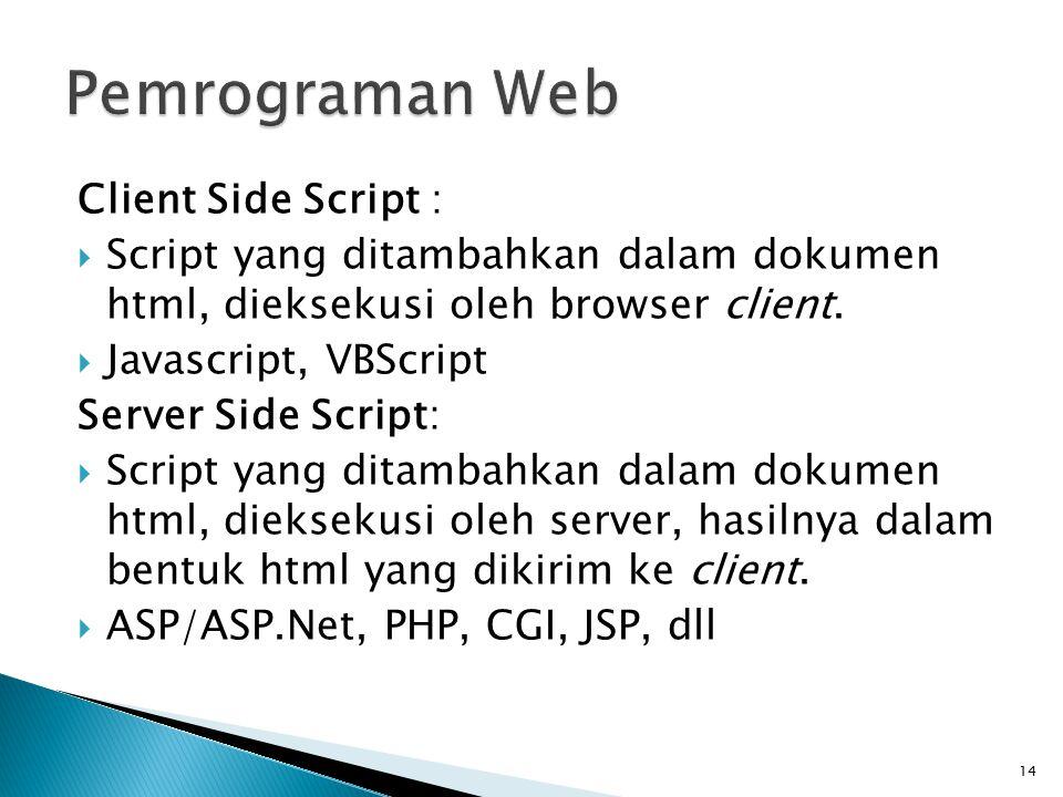 14 Client Side Script :  Script yang ditambahkan dalam dokumen html, dieksekusi oleh browser client.