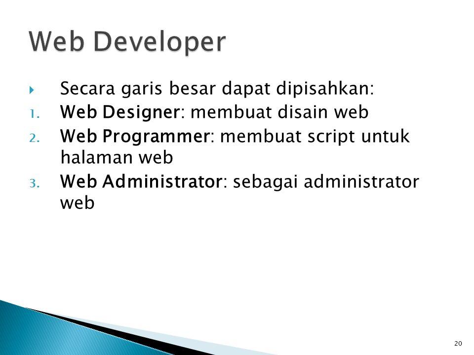 20  Secara garis besar dapat dipisahkan: 1.Web Designer: membuat disain web 2.