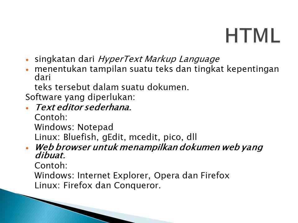 singkatan dari HyperText Markup Language menentukan tampilan suatu teks dan tingkat kepentingan dari teks tersebut dalam suatu dokumen.