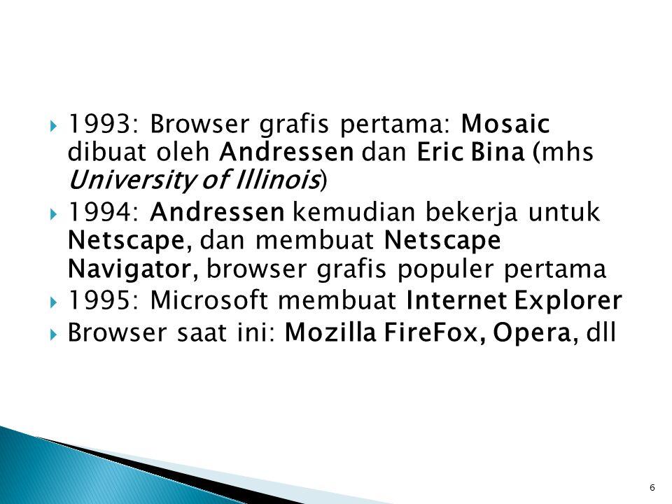 6  1993: Browser grafis pertama: Mosaic dibuat oleh Andressen dan Eric Bina (mhs University of Illinois)  1994: Andressen kemudian bekerja untuk Netscape, dan membuat Netscape Navigator, browser grafis populer pertama  1995: Microsoft membuat Internet Explorer  Browser saat ini: Mozilla FireFox, Opera, dll