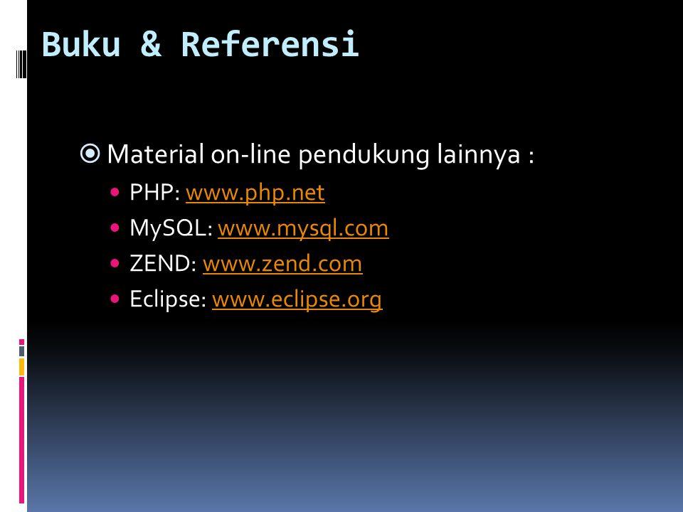 Buku & Referensi  Material on-line pendukung lainnya : PHP: www.php.netwww.php.net MySQL: www.mysql.comwww.mysql.com ZEND: www.zend.comwww.zend.com E