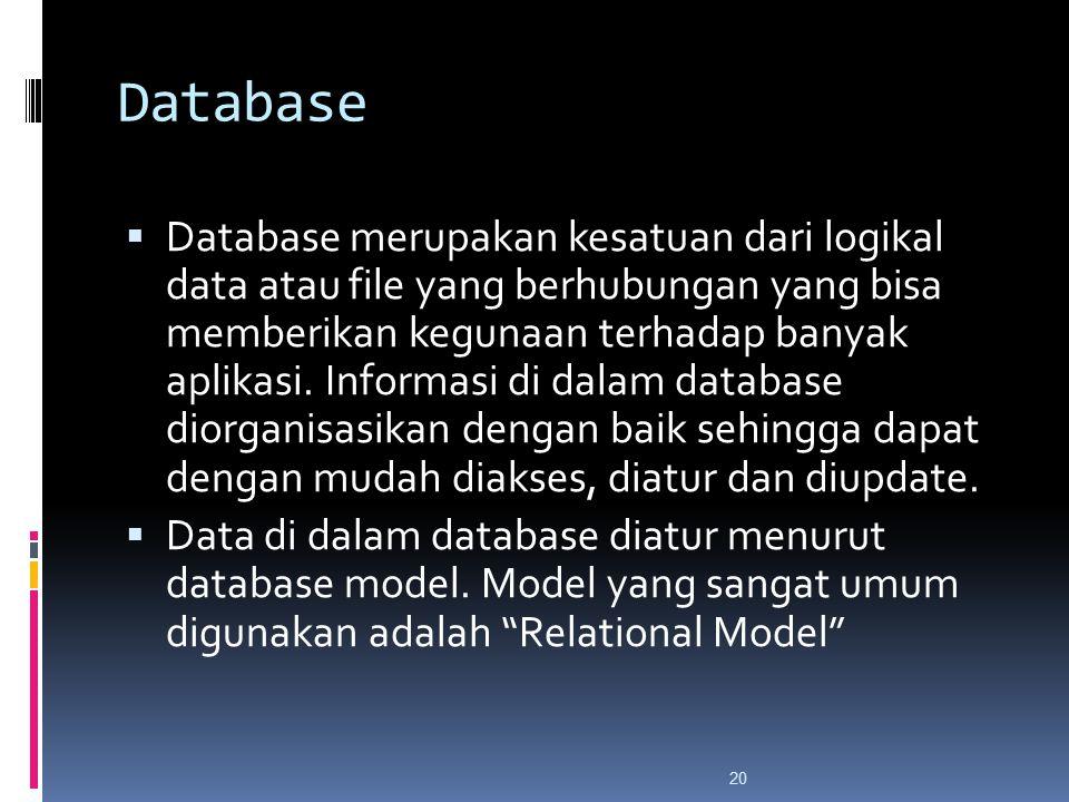 20 Database  Database merupakan kesatuan dari logikal data atau file yang berhubungan yang bisa memberikan kegunaan terhadap banyak aplikasi.