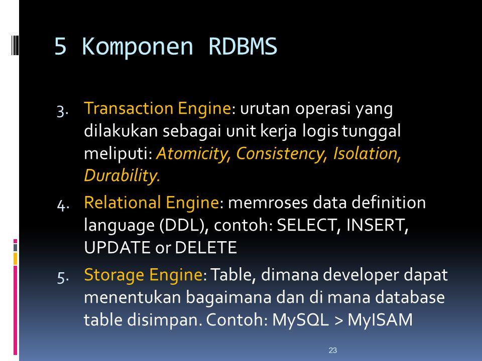 23 5 Komponen RDBMS 3. Transaction Engine: urutan operasi yang dilakukan sebagai unit kerja logis tunggal meliputi: Atomicity, Consistency, Isolation,