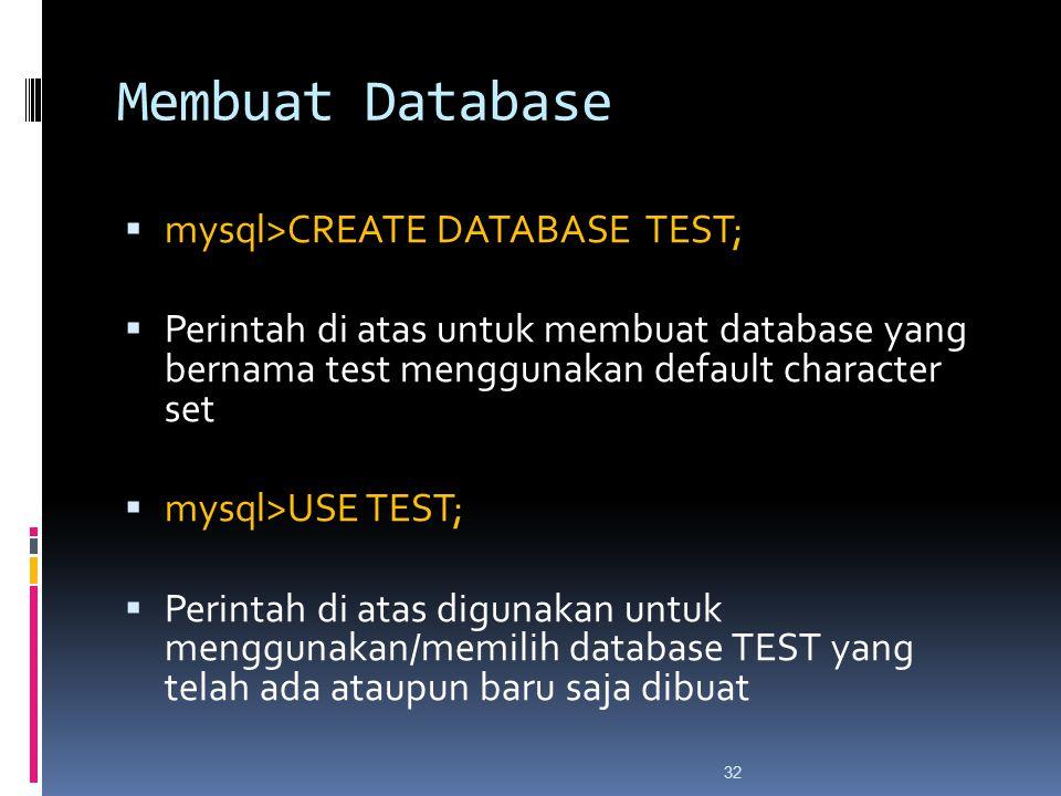 32 Membuat Database  mysql>CREATE DATABASE TEST;  Perintah di atas untuk membuat database yang bernama test menggunakan default character set  mysql>USE TEST;  Perintah di atas digunakan untuk menggunakan/memilih database TEST yang telah ada ataupun baru saja dibuat