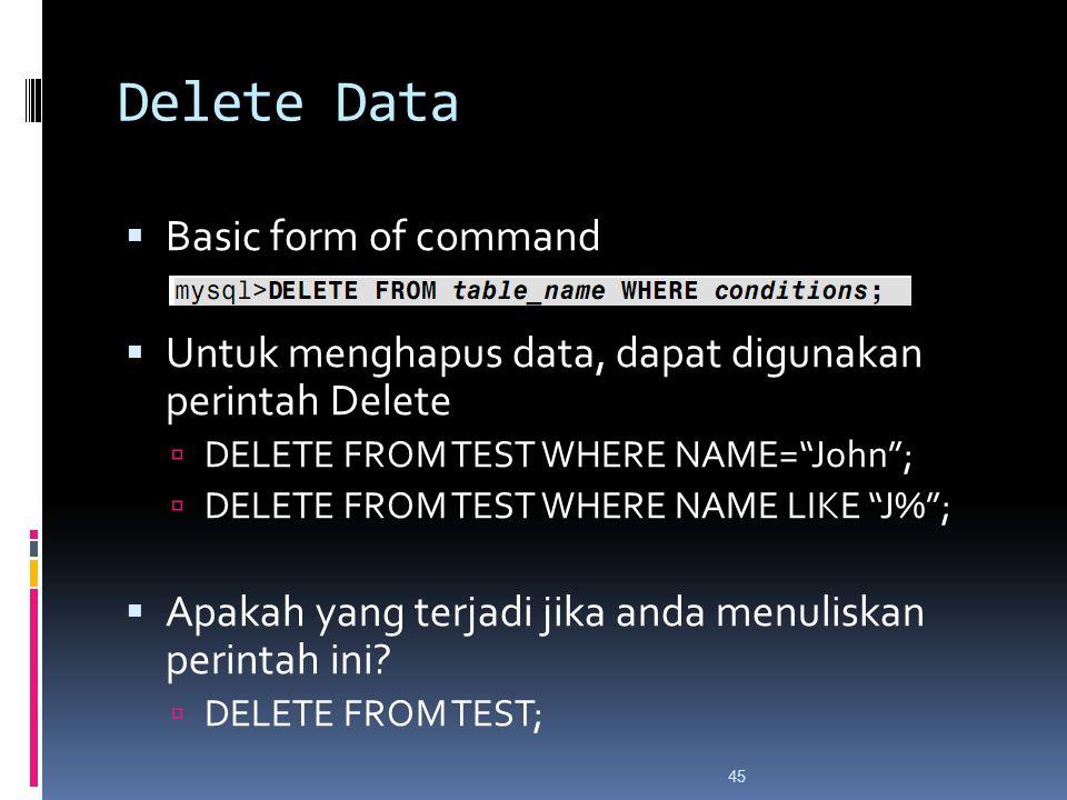 45 Delete Data  Basic form of command  Untuk menghapus data, dapat digunakan perintah Delete  DELETE FROM TEST WHERE NAME= John ;  DELETE FROM TEST WHERE NAME LIKE J% ;  Apakah yang terjadi jika anda menuliskan perintah ini.