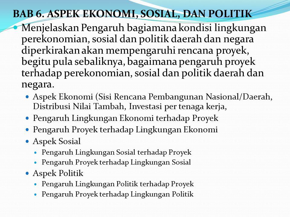BAB 6. ASPEK EKONOMI, SOSIAL, DAN POLITIK Menjelaskan Pengaruh bagiamana kondisi lingkungan perekonomian, sosial dan politik daerah dan negara diperki
