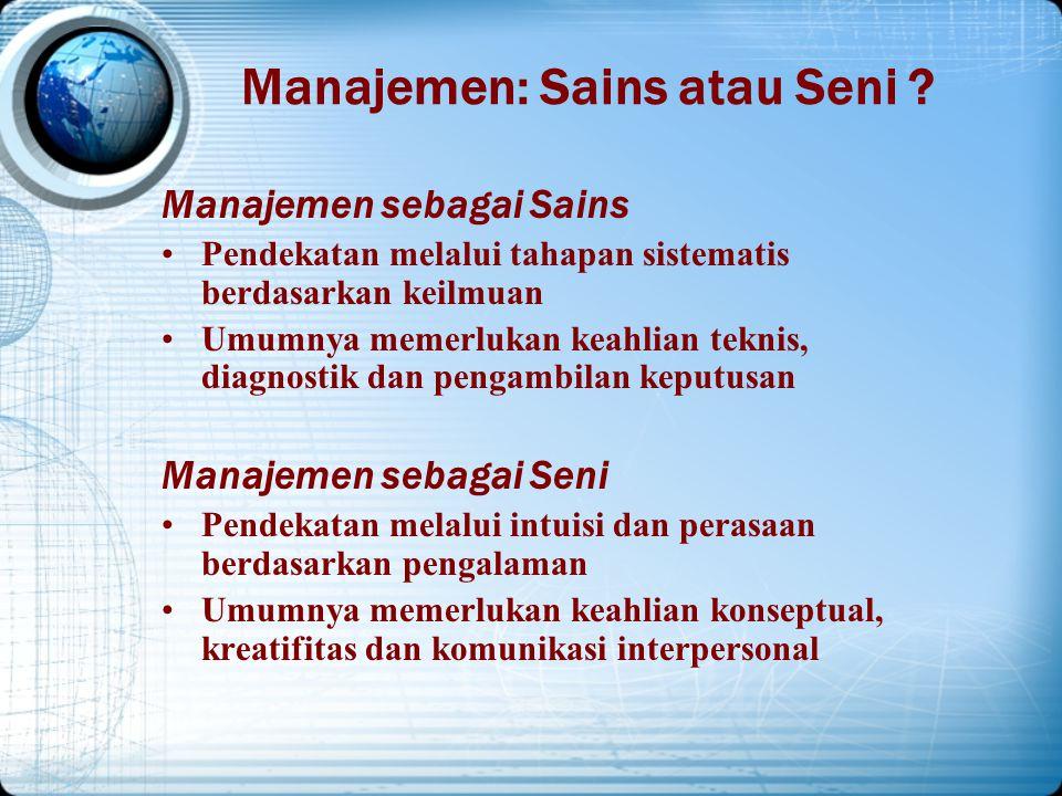 MANAJEMEN ada 3 pengertian Manajemen sebagai suatu proses, Manajemen sebagai suatu kolektivitas orang- 2 yg melakukan aktivitas manaj. Manajemen sebag