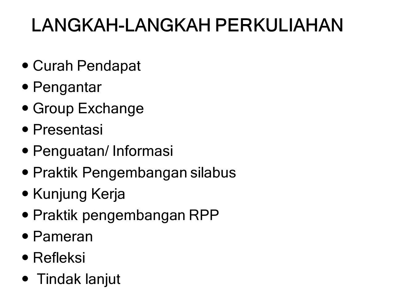 GROUP EXCHANGE Mahasiswa-mahasiswi dibagi menjadi 4 kelompok.