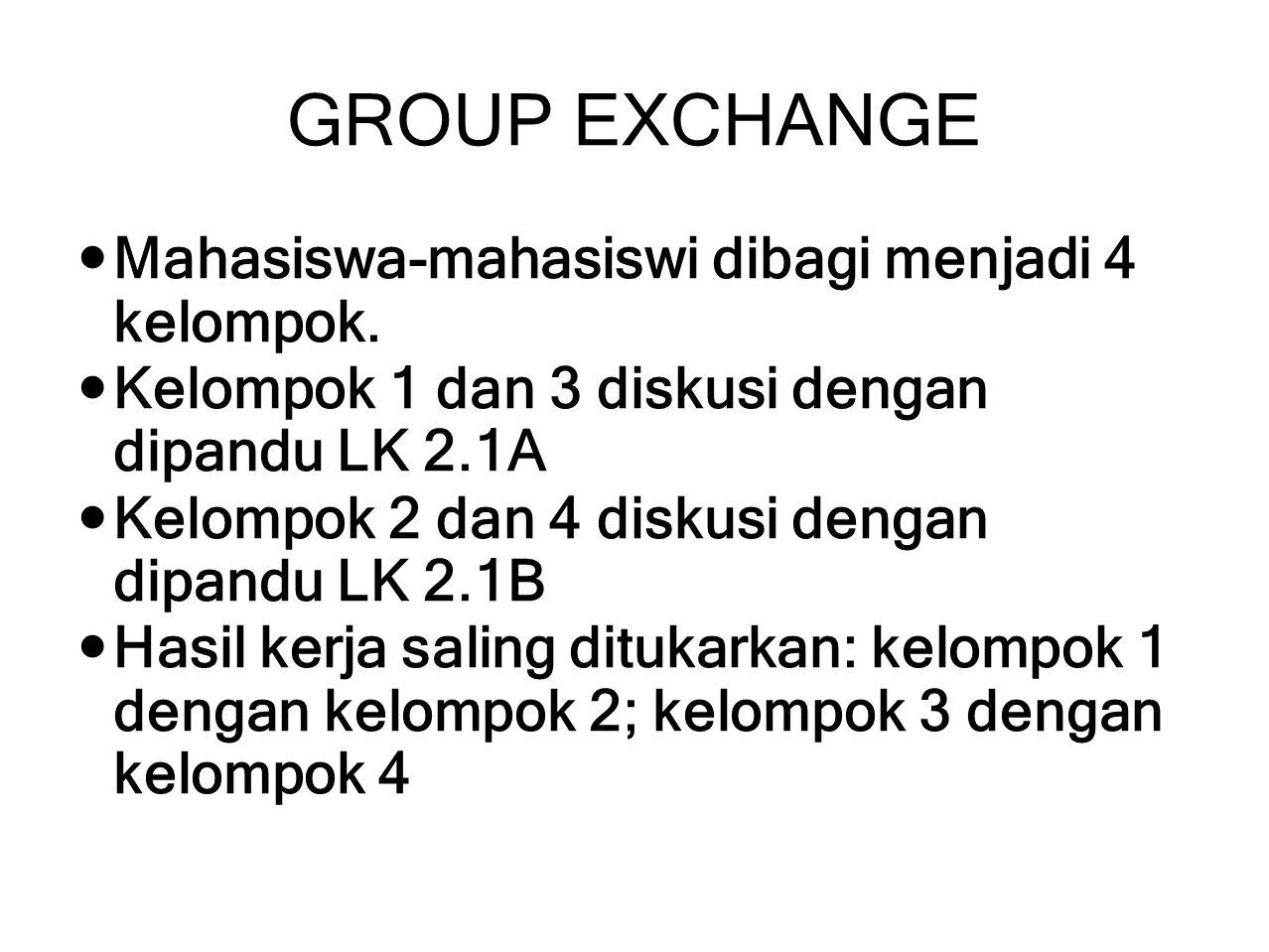 GROUP EXCHANGE Mahasiswa-mahasiswi dibagi menjadi 4 kelompok. Kelompok 1 dan 3 diskusi dengan dipandu LK 2.1A Kelompok 2 dan 4 diskusi dengan dipandu