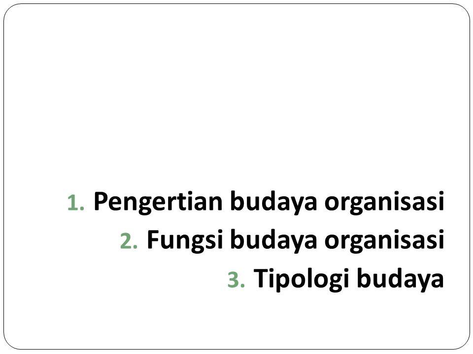 1. Pengertian budaya organisasi 2. Fungsi budaya organisasi 3. Tipologi budaya