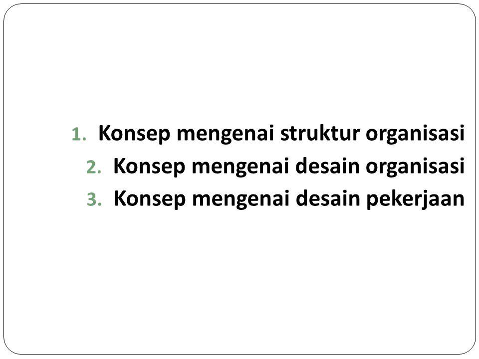 1. Konsep mengenai struktur organisasi 2. Konsep mengenai desain organisasi 3. Konsep mengenai desain pekerjaan